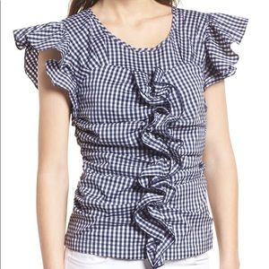 CHELSEA28 NWT navy gingham top size L